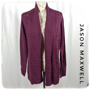 NWT Jason Maxwell Cable Knit Open Front Cardigan L